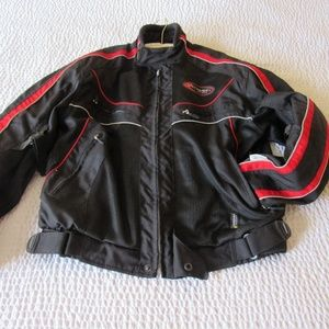 Olympia Moto Sport Jacket Scotchlite Armour Red M